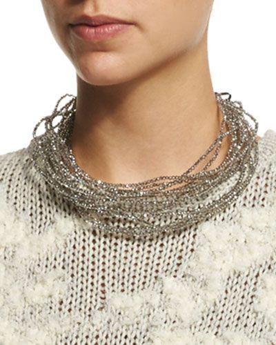 Brunello Cucinelli Multi-Strand Beaded Choker Necklace, Quartz, $1,425.00 , sweater detail
