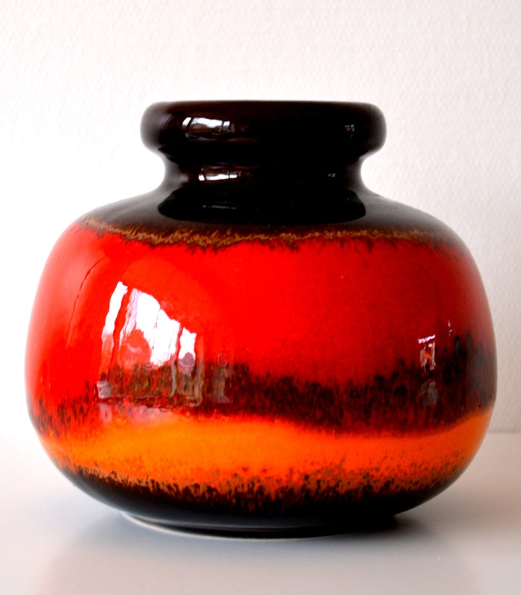 Beautiful West Germany vase with glossy red, orange and brown 70s VINTAGE. $40.00, via Etsy.