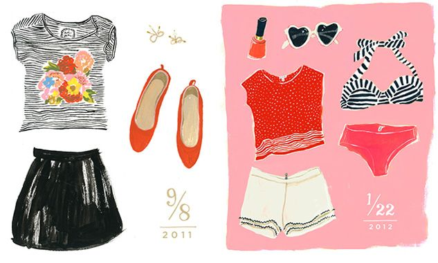 """""""What I Wore"""" illustrations by Danielle Kroll"""