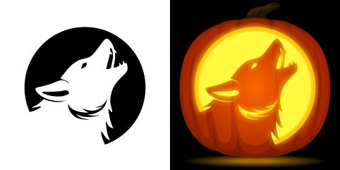 Howling wolf pumpkin carving stencil. Free PDF pattern to download and print at http://pumpkinstencils.org/download/howling-wolf-pumpkin-stencil/