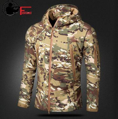 FIELD LIVED CT-6520. Мужская камуфляжная куртка. Военный стиль. Тактическая мягкая оболочка, теплый флис, водонепроницаемая. Камуфляжное пальто.