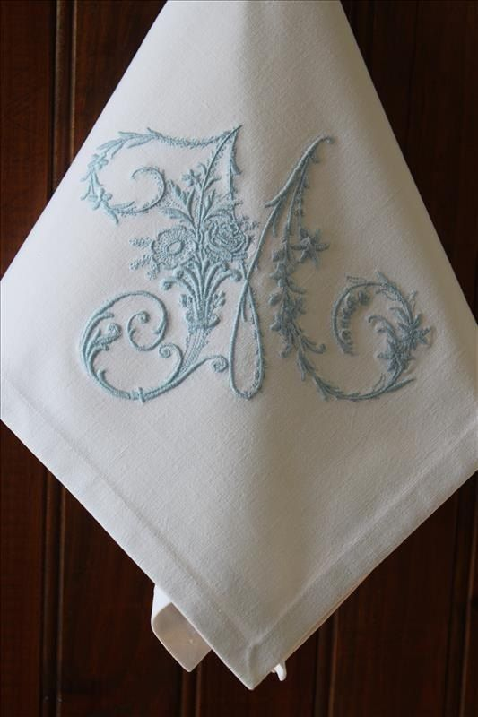 Monogrammed Personalized Dinner Cloth Table Linen Napkins Serviettes Made With Vintage French Metis Linen All Initials
