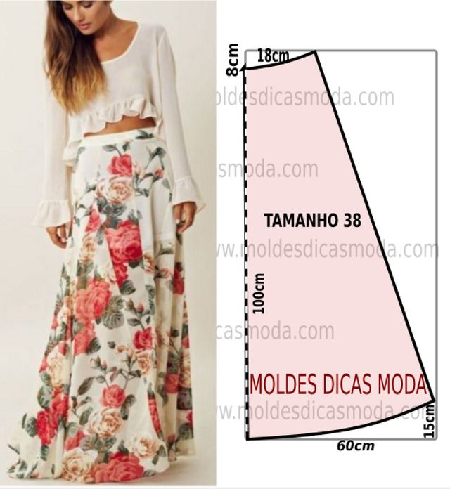 O molde de saia longa florida encontra-se no tamanho 38 na tabela de medidas Portuguesa e tamanho 40 na tabela de medidas Brasileira. A ilustração do molde de saia não tem valor de costura. Nestes cas