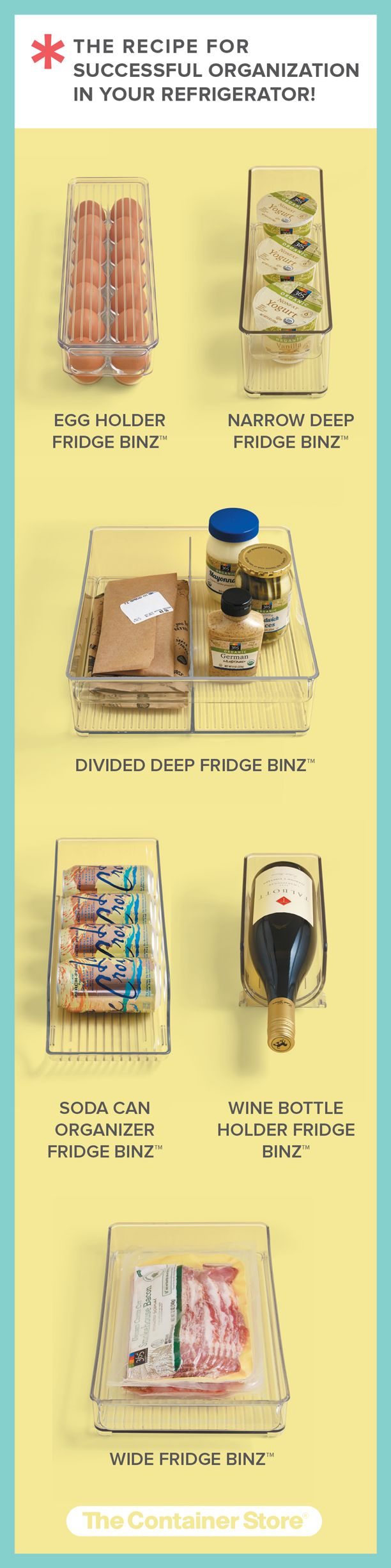 Your spring organization isn't complete without our Fridge Binz! Now THIS is a recipe for successful organization in your refrigerator.