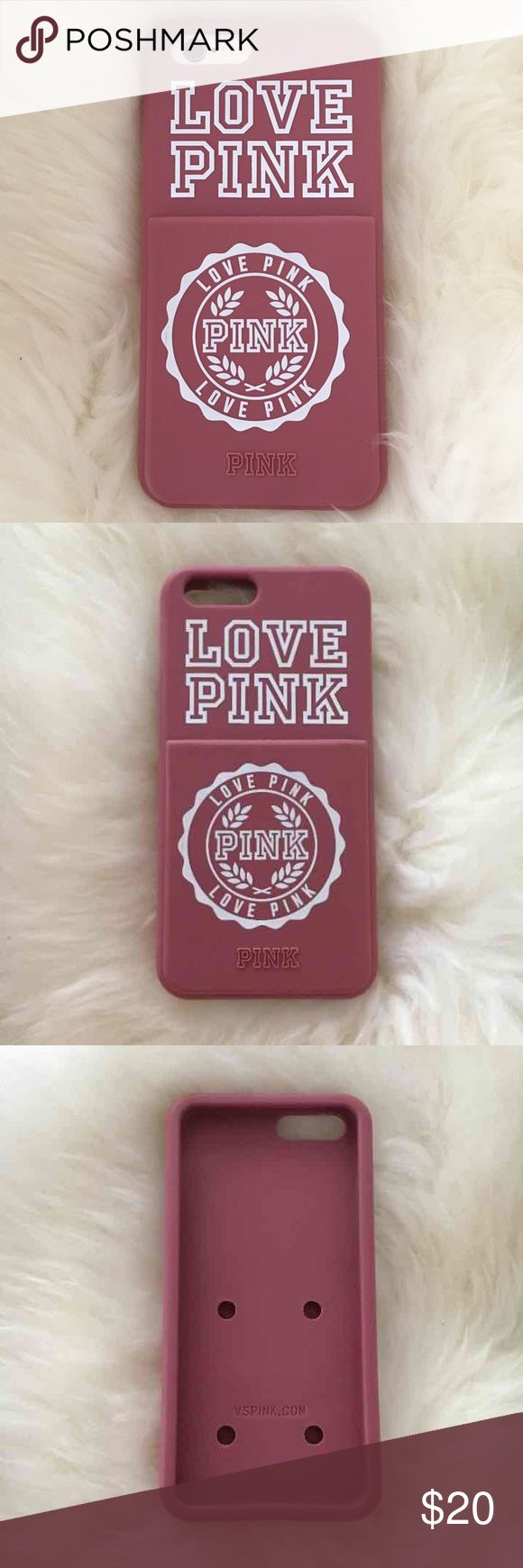 Victoria's Secret Pink iPhone case Vs pink soft begonia iPhone 6/6s case. Has an ID/CC slot, Like new! Cheaper on Ⓜ️ PINK Victoria's Secret Tops