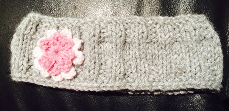Grey Headband with 2-toned Pink Flowers Avail any size, $9