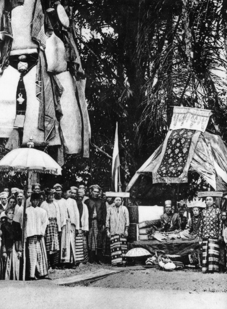 Tree of Life construction from bamboo poles and hanging textiles... Lampung Wedding