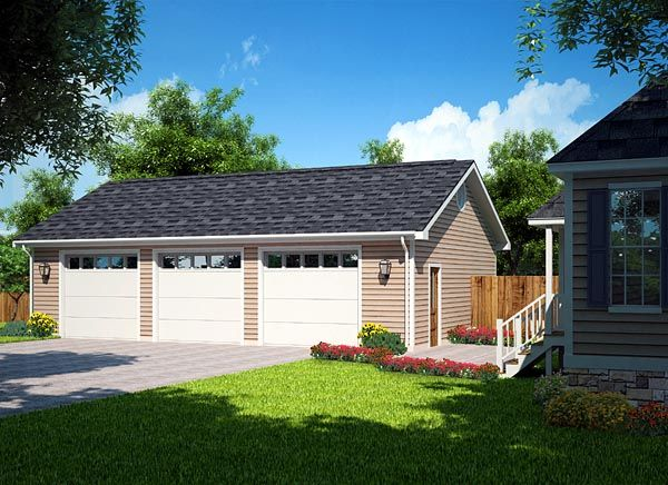 Elevation of Country Ranch Traditional Garage Plan 30002