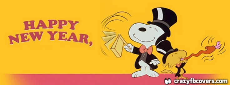Snoopy And Woodstock Happy New Year Facebook Cover