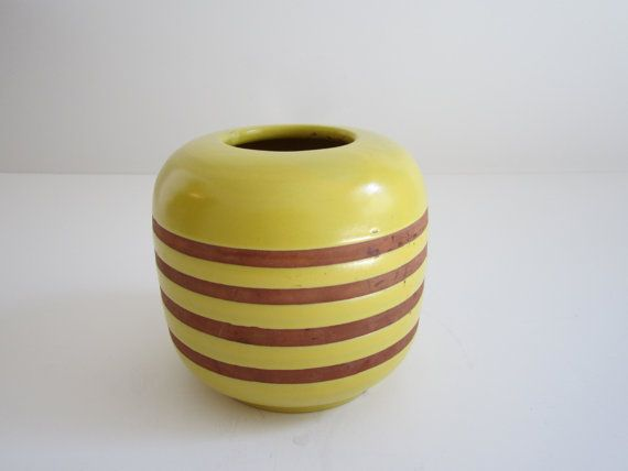 Yellow Pottery Vase  Norway by 20thCenturyGoods on Etsy, $28.00
