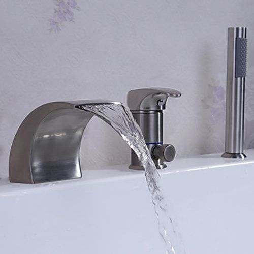 Nickel Brushed Finish Three Holes One Hand Waterfall Bathtub Faucet(Tub And Shower)--FaucetSuperDeal.com