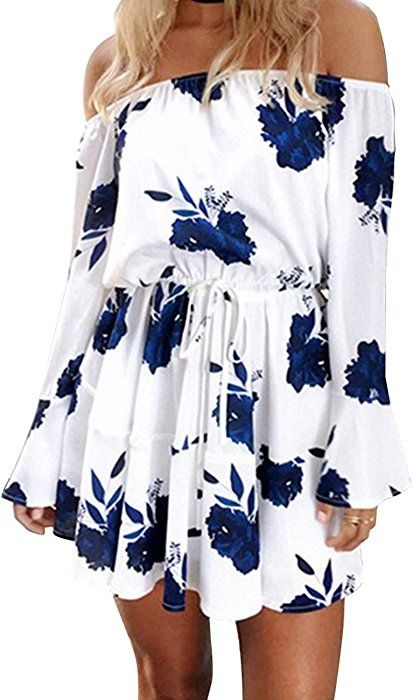 baa884ba216 Yobecho Women Summer Off Shoulder Strapless Floral Print Pleated Dresses(Fake  Seller yujinxiu) (Small