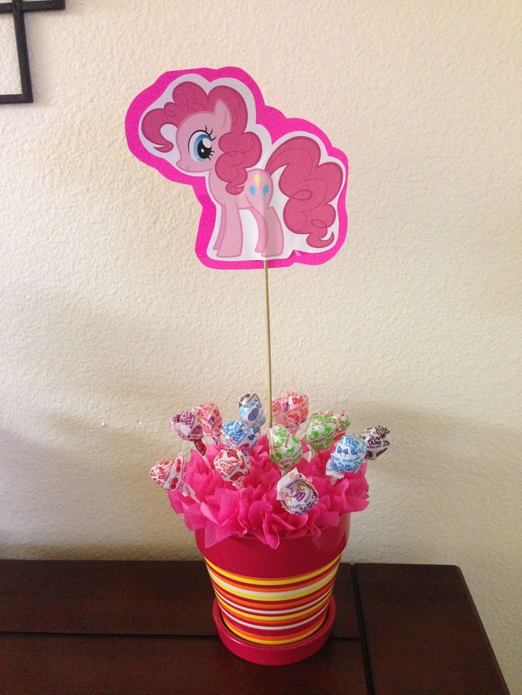 pinkie pie my little pony table decoration my. Black Bedroom Furniture Sets. Home Design Ideas