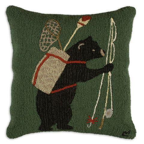 """Bear Essentials 26"""" Hooked Wool Pillow"""