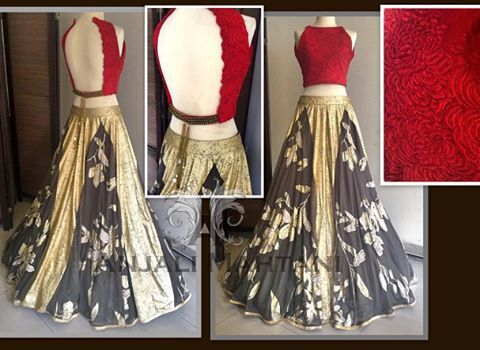 Because Red is Power! #lehenga #anarkali #gold #croptop #wedding #fashion #red #gold anjalimahtanicouture