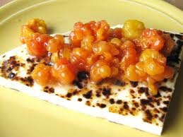 Finnish squeaky cheese and cloudberries. #food #Finland #tradition #cheese
