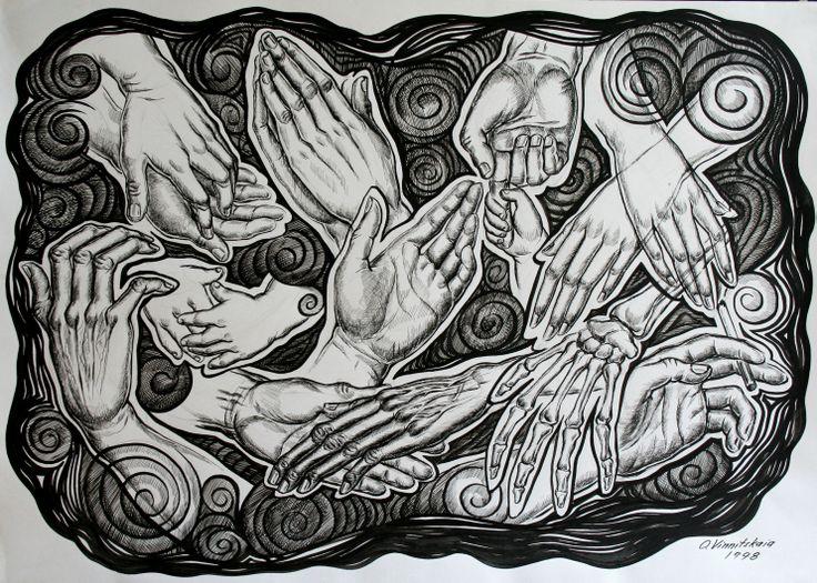 Olga Vinnitskaya. Komposition mit Hände, schwarze Tusche und Feder auf Papier.