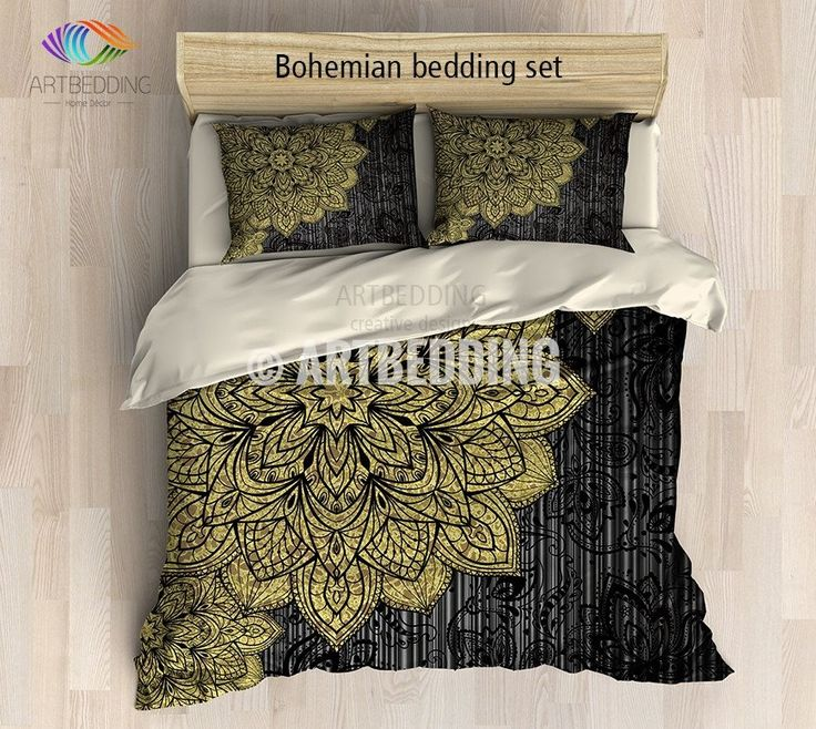 If you want to create bohemian look you may consider decorating with one of my creations. By your request I made gold and black mandala bedding set using stunning deco mandala with gold foiled grunge effect on a rustic black stripes texture background with beautiful black Indian elements to create a perfectly balanced look between vintage damask and traditional Indie.  3-piece DUVET COVER SETIncludes: 1 duvet cover / NO duvet insert/ and a set of 2 pillow coversOur Reversible down Duvet…