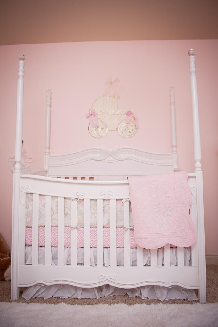 Lola's nursery. Disney Princess Canopy Crib, Pottery Barn bedding.
