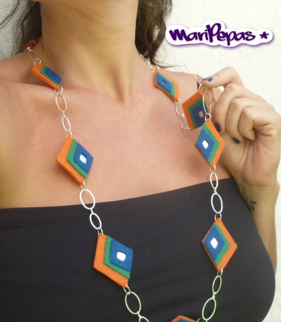 Ecofriendly Statement Necklace Orange green and blue by MariPepas, $25.00