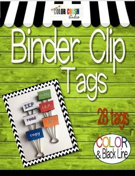 FREE!!  Tag... You're It - Binder Clip Edition In Color and Black Line.  28 snazzy little tags to jazz up those handy binder clips that keep just about everything together. So easy to put together: print and laminate and attach with double sided tape. Each tag is printed twice so that you can affix it to both sides of the binder clip.