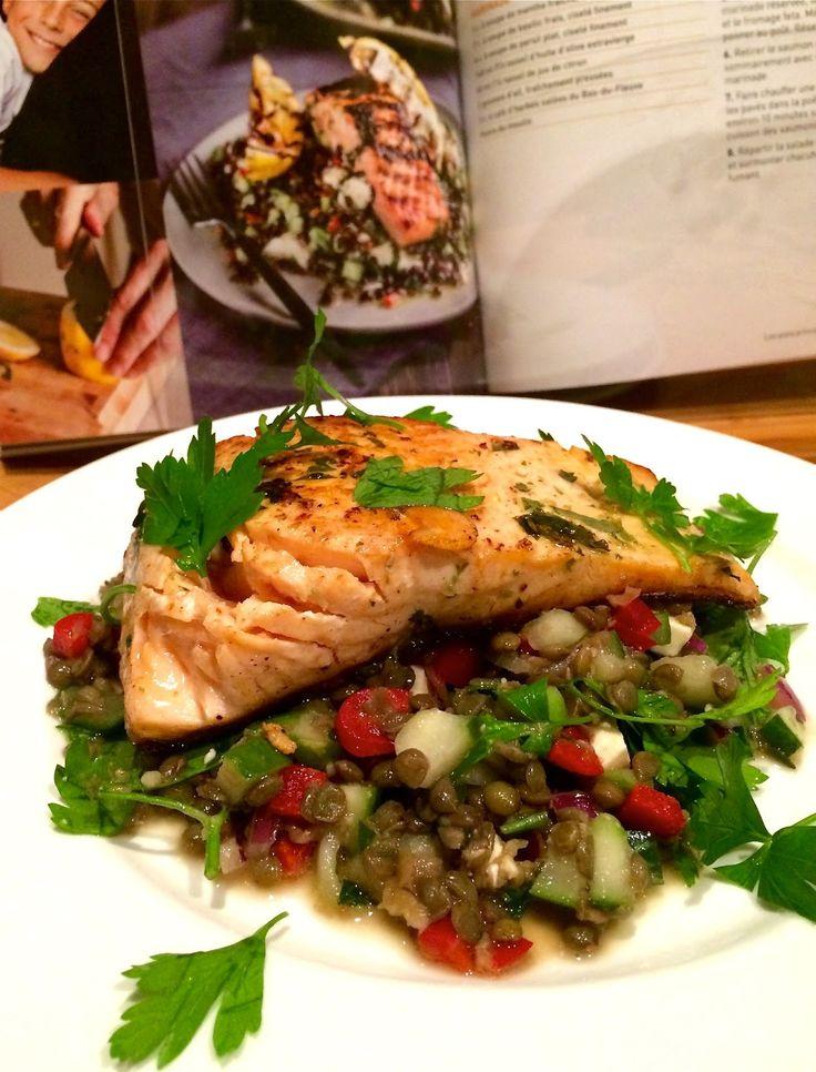 Madame Anne aux fourneaux: Pavés de saumon grillés, salade de lentilles aux parfums de la Méditerrannée