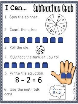 Subtraction and other math resources to help you teach your kindergarten and 1st grade students how numbers work in a fun and engaging way!