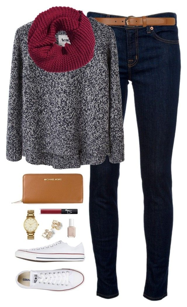 """""""ootd"""" by classically-preppy ❤ liked on Polyvore featuring J Brand, Dorothy Perkins, Acne Studios, Converse, H&M, MICHAEL Michael Kors, NARS Cosmetics, Kate Spade and Essie"""