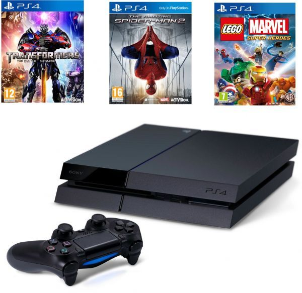 Sony PlayStation 4 with Transformer Spiderman 2 Lego Marvel Video Games Set