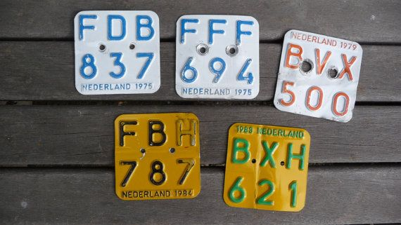 Old Dutch moped license plates  set of five by MarketForTheCool, $24.00