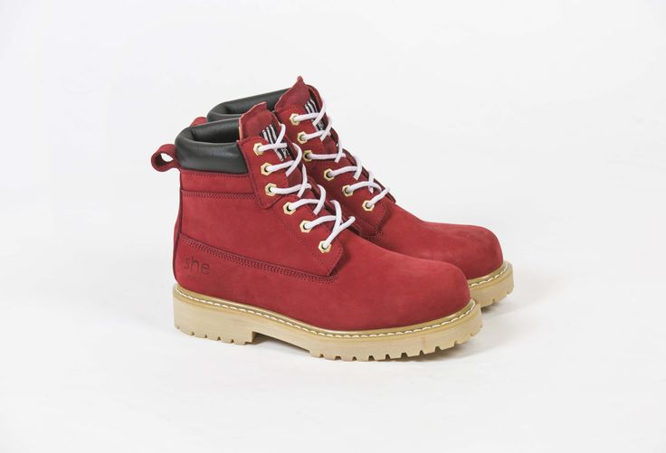 our she wear she can safety work boot in claret red.  available online at www.shewear.com.au.