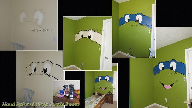 Ninja Turtle Room wall Leonardo Green Paint Mural Hand Painted Kids Bedroom Room  @ ckgraphics aol.com
