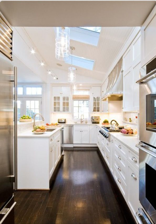 - oh my! Love love love this kitchen!! high ceilings, dark floors, sky lights