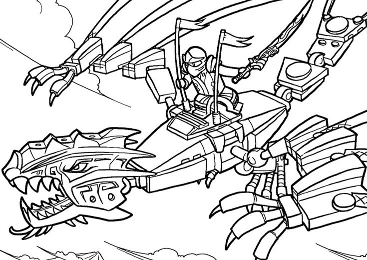 Dragon Rider - high-quality free coloring from the