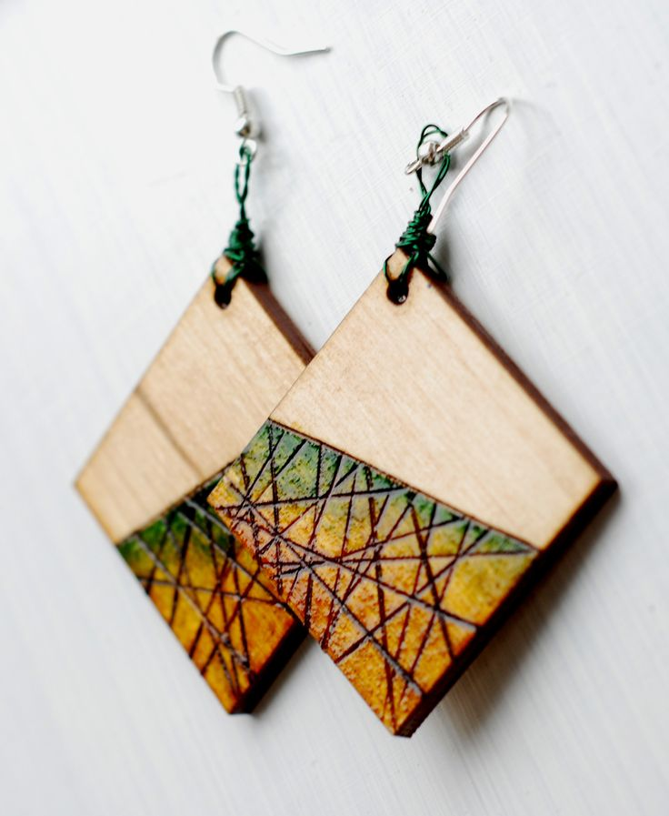#wood #wooden #pyrography #green #handcraft #earrings