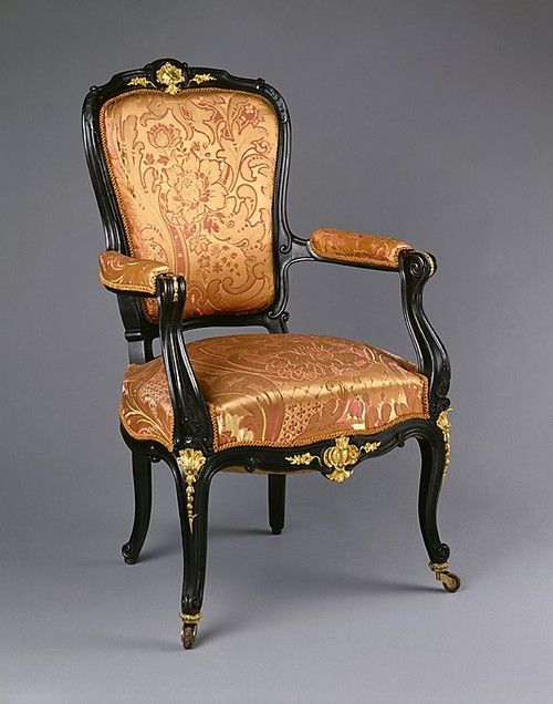 Armchair Made Of Applewood Or Pearwood, Ebonized Walnut, Beech And Gilt-Bronze, Made By Auguste-Émile Ringuet-Leprince - American Or French c.1845   -   MET