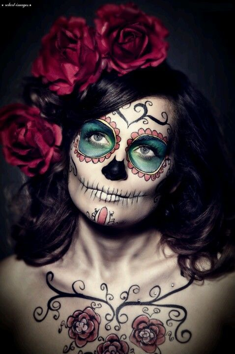 sugar skull red rose halloween makeup