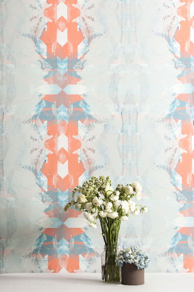 """Vinson Massif is printed with light blue, white and coral pink inks.It is  also washable, strippable, unpasted, and Class A fire rated.Type II &  contract wallpaper is also available.  Straight match Vertical repeat: 27"""" Horizontal repeat: 27"""" Untrimmed  Roll - $200 -27″ x 15′  She"""