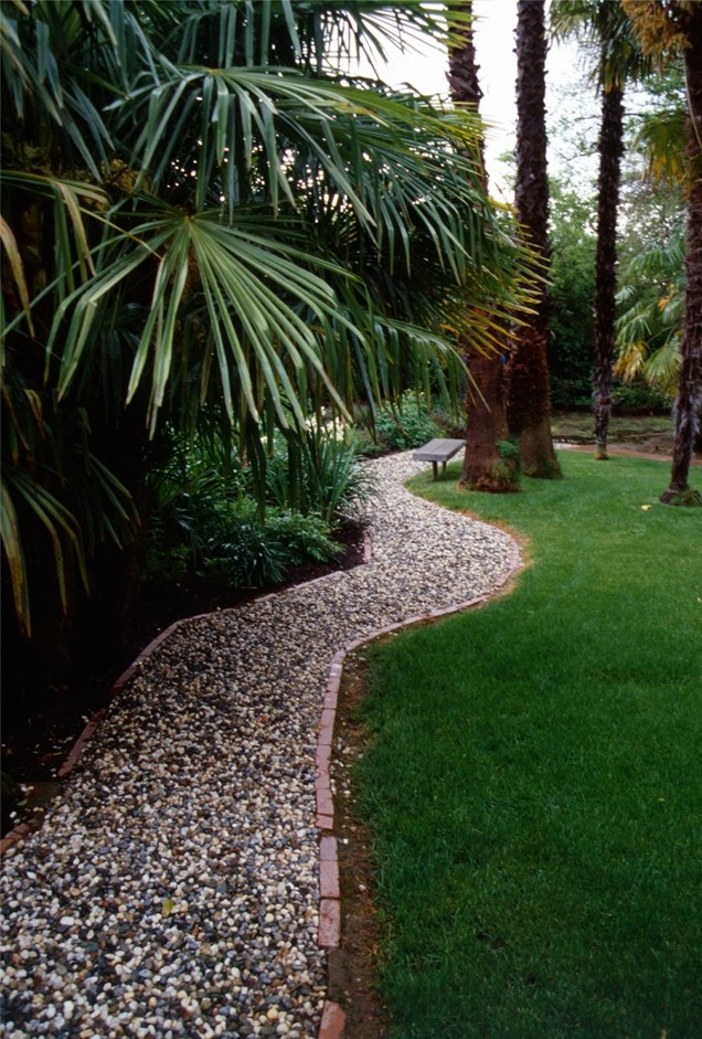 gravel walkway french drain tropical landscaping maureen gilmer morongo valley