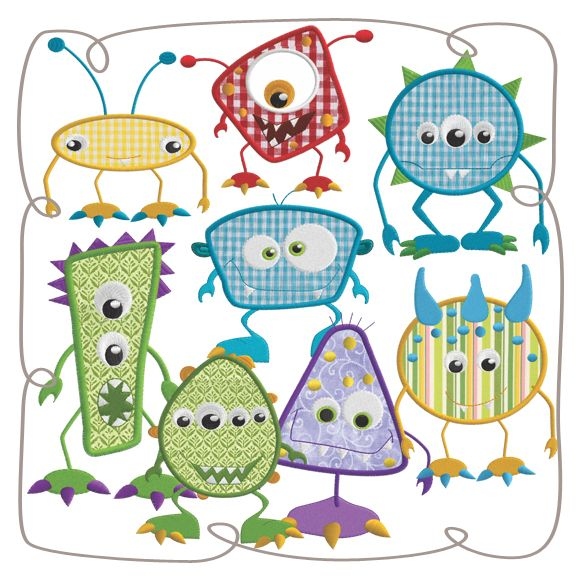 Silly Monsters Set: Embroidershoppe