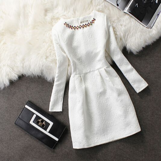 Elegant round neck long-sleeved dress #11203AD