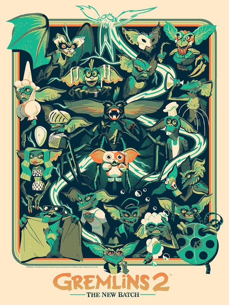 """Gremlins 2: The New Batch by Glen Brogan / Blog / Facebook / Instagram / TeePublic 18"""" x 24"""" screen print, numbered edition of 150. Available from Mondo at a random time on Thursday, December 1st. Follow them on Twitter for the on sale announcement."""