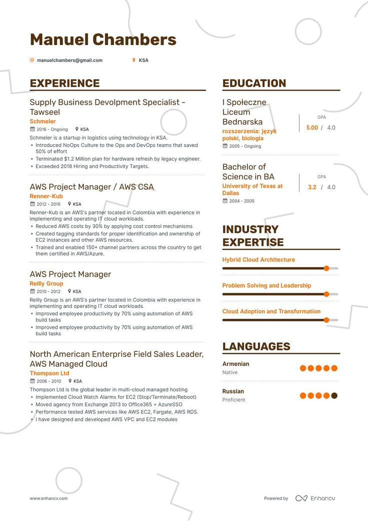 Aws resume example and guide for 2019 resume examples