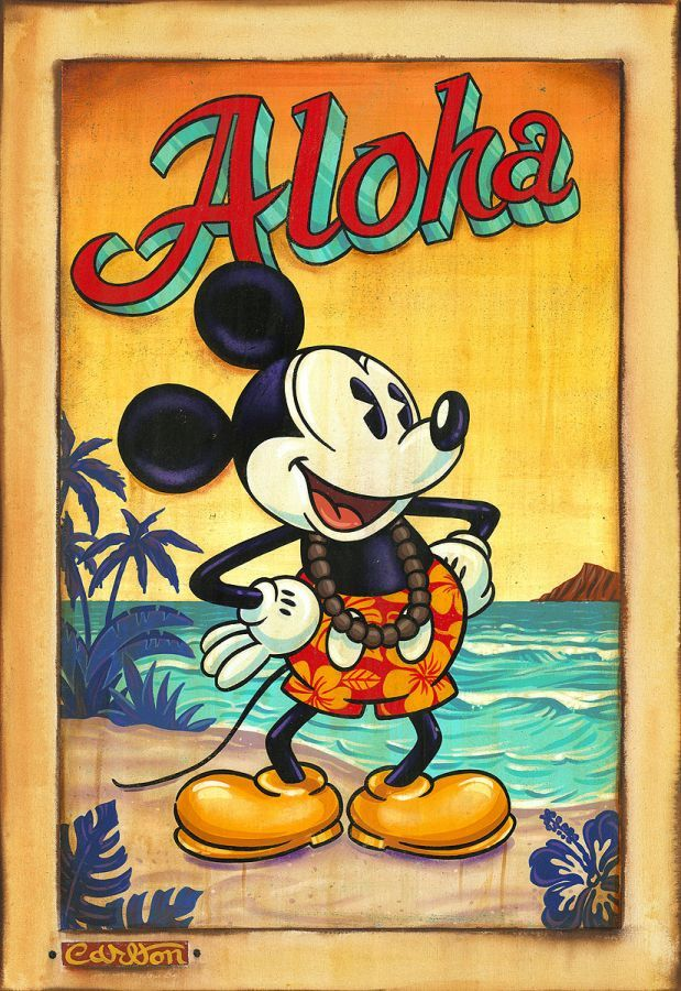 """Waves of Aloha"" by Trevor Carlton | Disney Fine Art | Disney's Mickey Mouse"