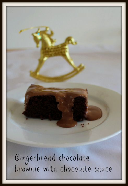 Gingerbread brownie and chocolate sauce
