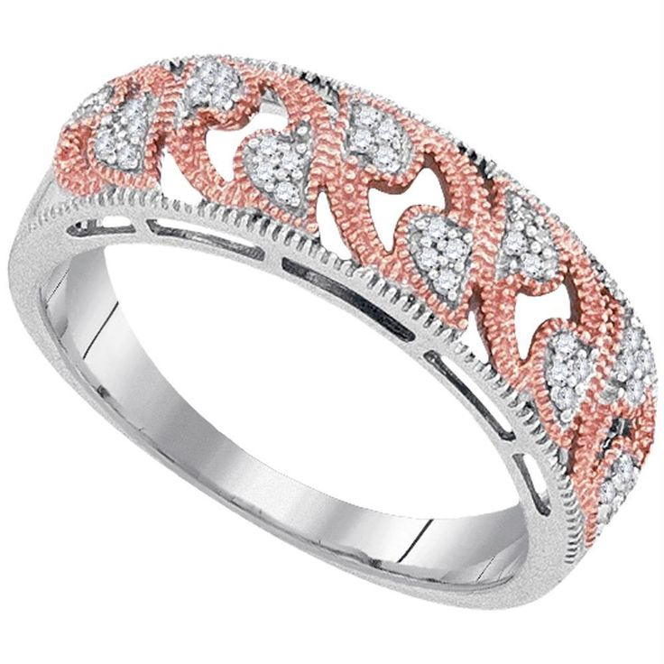 10kt White Gold Women's Round Diamond 2-tone Rose Band Ring 1-10 Cttw - FREE Shipping (US/CAN)