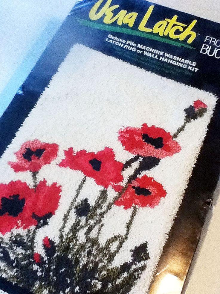 "Vintage Vera Neumann Latch Hook Kit 6981 ""Poppies"" Rug Wall Hanging Sealed #Bucilla"