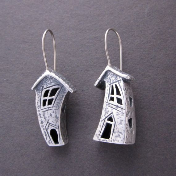 Crooked house earrings, Silver earrings with 14k wires. $175.00, via Etsy.