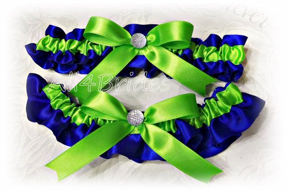 Cobalt Blue and Lime Green wedding bridal garter set, Peacock Blue and Green bridal accessories something blue garters.
