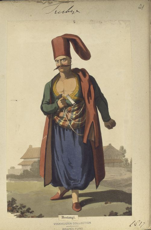 Bostanji, one of the Imperial Guard. The Vinkhuijzen collection of military uniforms / Turkey, 1812. See McLean's Turkish Army of 1810-1815.